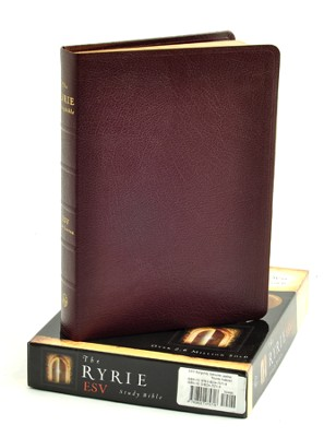 ESV Ryrie Study Bible, Burgundy Genuine Leather, Thumb-Indexed  - Slightly Imperfect  -