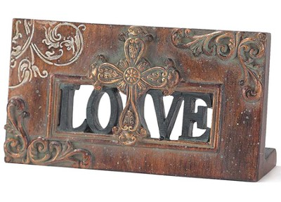 Love Plaque with Cross  -