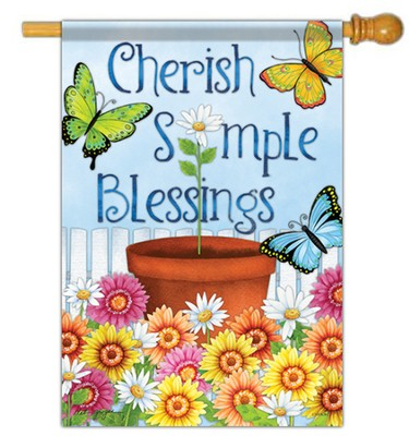 Cherish Simple Blessings, Large Flag  -