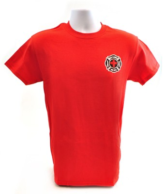 Fire And Rescue Adult Tee Shirt, Red, Small (36-38)  -