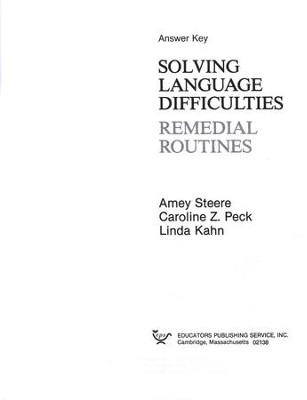 Solving Language Difficulties Answer Key   -     By: Amey Steere