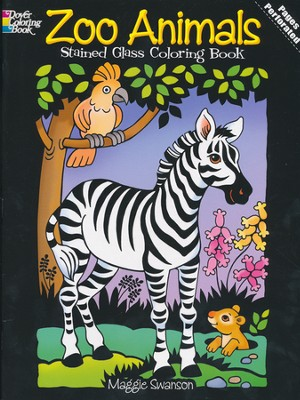 Zoo Animals Stained Glass Coloring Book  -     By: Maggie Swanson