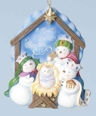 Snowman Nativity Ornament, Hallelujah  -