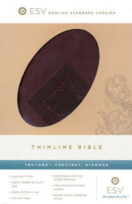 ESV Thinline TruTone, Chestnut, Diamond Design - Imperfectly Imprinted Bibles  -