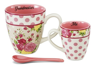 Grandmother and Me Mug Set, Pink and White  -