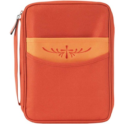 Nylon Bible Cover with Cross on Pocket, Orange, Large  -