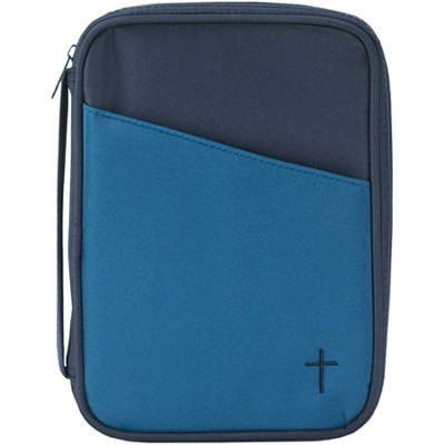 Thinline Bible Cover with Cross, Blue and Navy   -