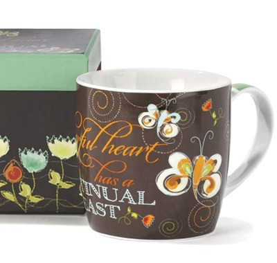 A Cheerful Heart Has A Continual Feast Mug  -     By: Lucinda Wei