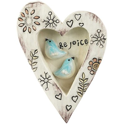 Rejoice, Heart Plaque, with Birds  -