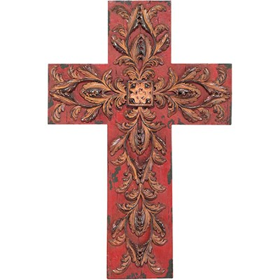 Filigree Wall Cross, Burgundy and Brown  -