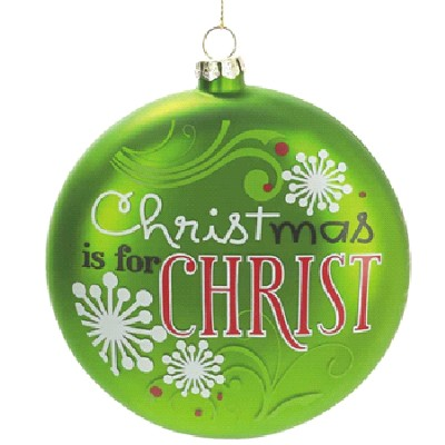 Christmas Is For Christ Ornament, Green with Snowflakes  -