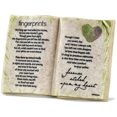 Fingerprints, Forever Etched Upon My Heart, Book Plaque  -