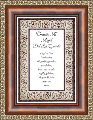 Oracion al Angel, Prayer to the Guardian Angel, Framed Print  -