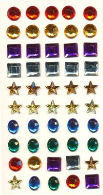 Adhesive Gems, Package of 50 Stickers  -
