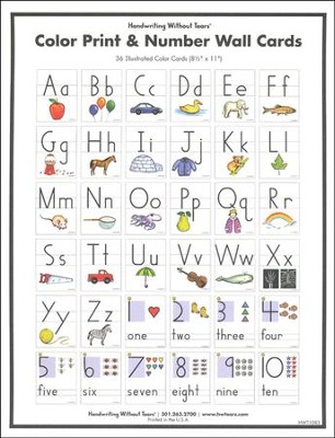 Color Print & Number Wall Cards, Set of 36--Preschool to Grade 2  -