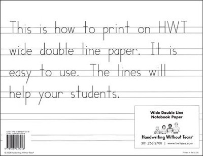 Wide Notebook Paper, 100 Sheets--Grades K to 1   -