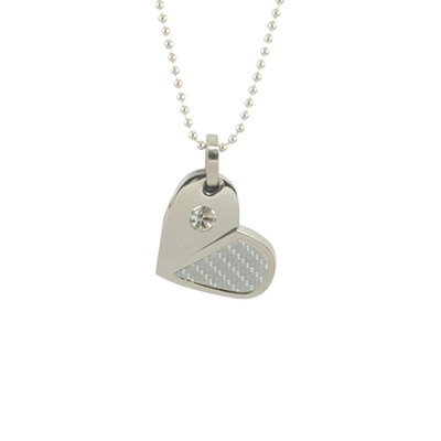 Heart and Rhinestone Necklace   -