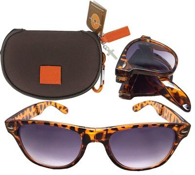 Sunglasses in Case with Cross, Brown  -