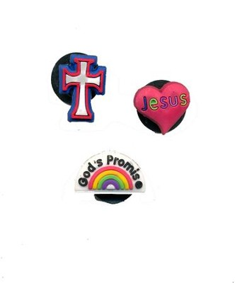 Loom Charms, 3 Piece, Jesus Heart, Cross, Gods Promise Rainbow  -