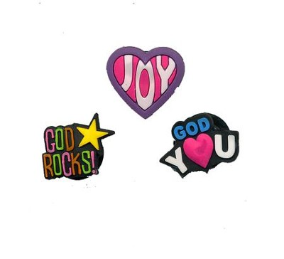 Loom Charms, 3 Piece, Joy Heart, God Rocks, God Loves You  -