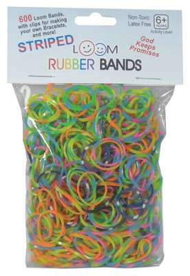 Striped Loom Bands, 600 Pieces  -