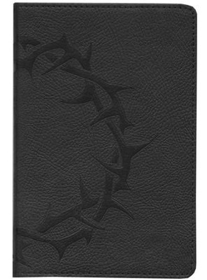 ESV Compact Bible--soft leather-look, charcoal with crown  design  -