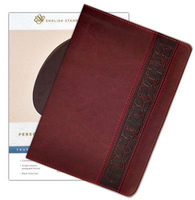 ESV Personal-Size Reference Bible, soft  leather-look, Mahogany with Trellis Design - Imperfectly Imprinted Bibles  -
