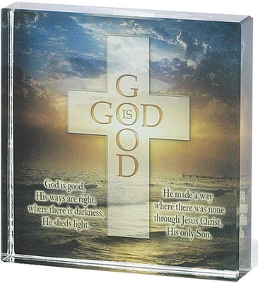 God Is Good Glass Block  -