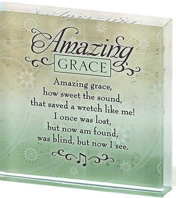 Amazing Grace Glass Block  -