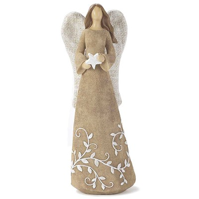 Linen Look Angel with Star Figure  -