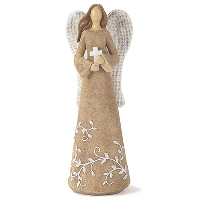 Linen Look Angel with Cross Figure  -