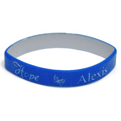 Personalized, Hope Wristband, With Name and Butterfly, Blue  -