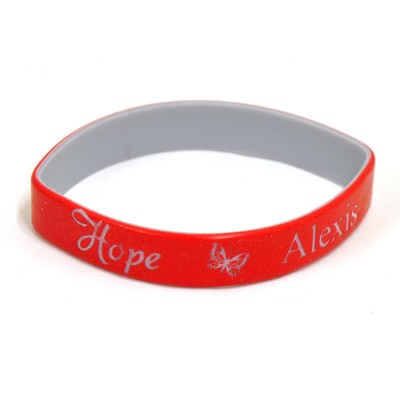 Personalized, Hope Wristband, With Name and Butterfly, Red  -