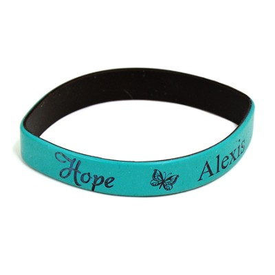 Personalized, Hope Wristband, With Name and Butterfly, Teal  -