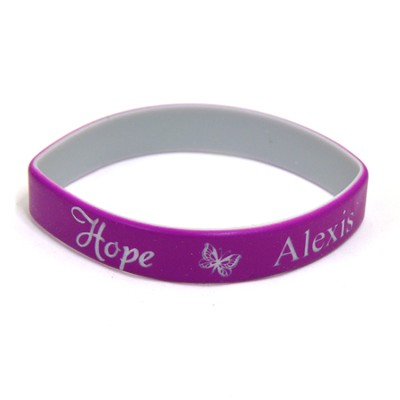 Personalized, Hope Wristband, With Name and Butterfly, Purple  -