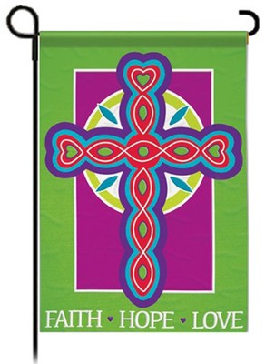 Faith Hope Love Cross Flag, Garden Size   -