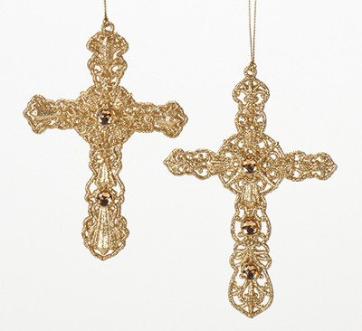 Gold Cross Ornament, Set of 2  -