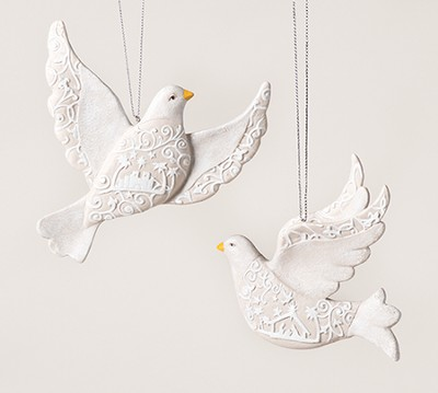 Papercut Dove Ornament, Set of 2  -