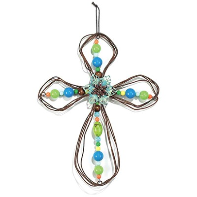 Teal Flower Wire Hanging Cross  -