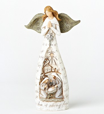 Angel with Holy Family Figurine  -