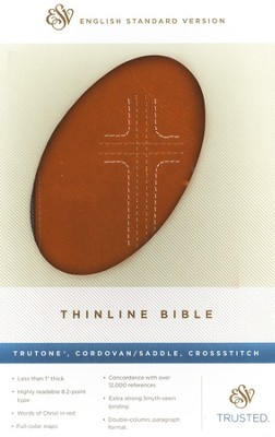 ESV Thinline Bible,TruTone, Cordovan / Saddle, CrossStitch Design   -