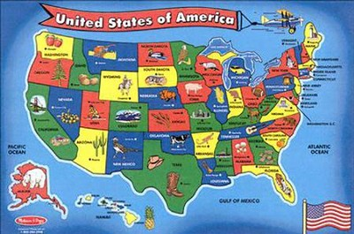 United States Map Floor Puzzle   -     By: Melissa & Doug