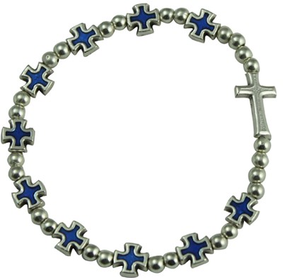 Rosary Cross Bracelet, Blue  -
