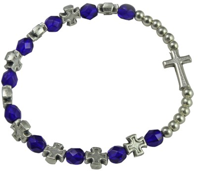 Rosary Cross Bracelet, Blue Beads  -