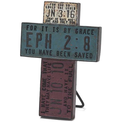 License Plate Scripture Tabletop Cross  -