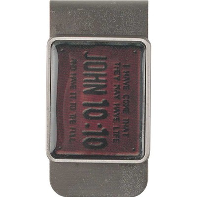 John 10:10, License Plate Scripture Money Clip  -