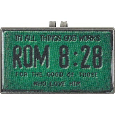Romans 8:28, License Plate Scripture Visor Clip  -