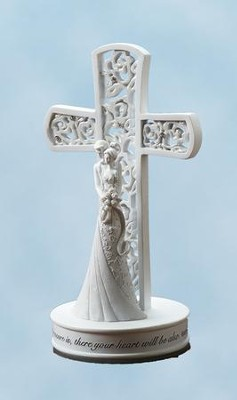 Couple with Cross Cake Topper  -