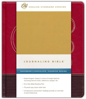 ESV Journaling Bible--soft leather-look, raspberry/chocolate  -