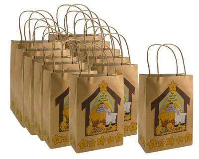 God's Gift Brown Paper Gift Bag, 1 Dozen   -